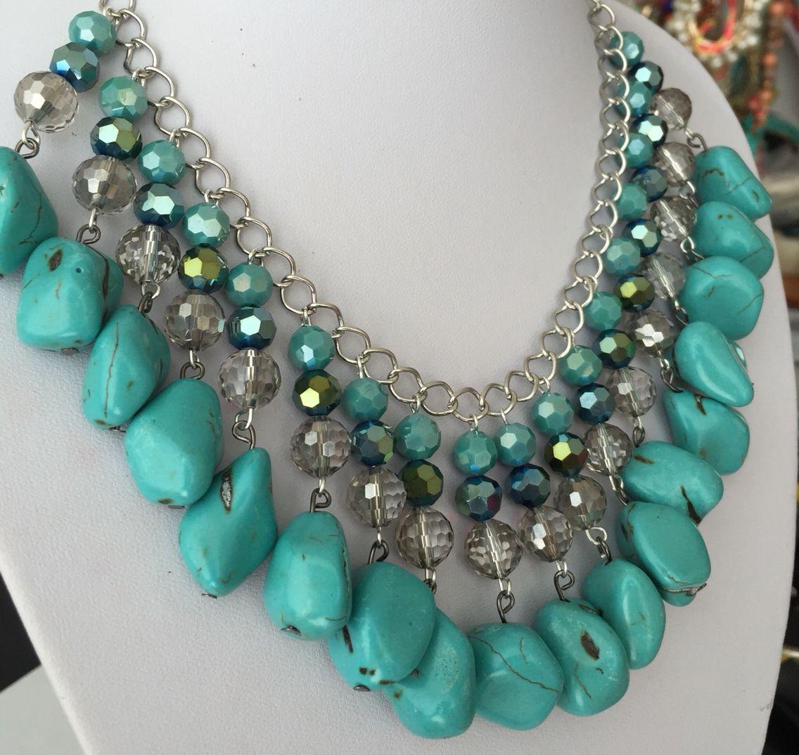 Collar de piedras y cristales turquesa necklace 2 - Piedras para collares ...