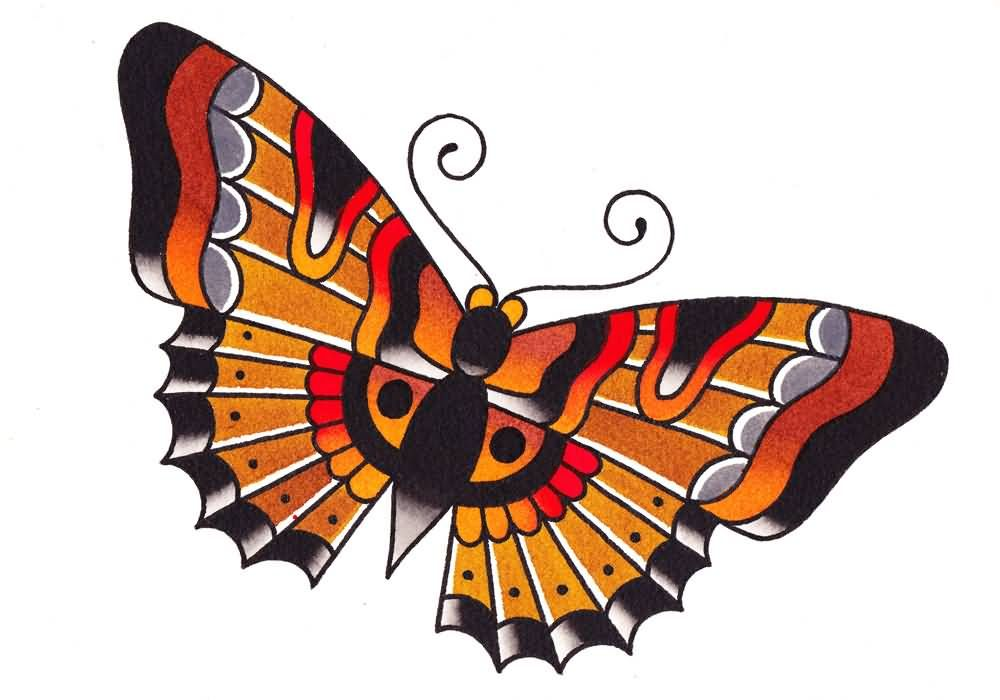 Traditional Butterfly Tattoo Flash: Nice Traditional Butterfly Tattoo Design