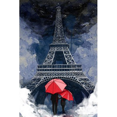 """Maxwell Dickson 'Rainy Night in Paris' Graphic Art on Wrapped Canvas Size: 60"""" H x 40"""" W x 1.5"""" D"""