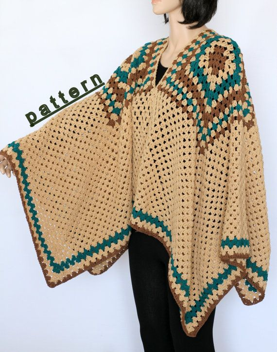 Crochet poncho pattern Indian Poncho PDF crochet pattern Rustic ...