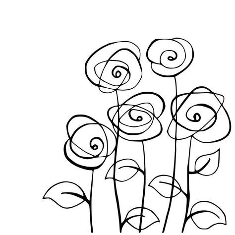 Flower drawing - SUCH SIMPLE STICK FIGURES CAN BE LEARNED BY EVERYONE