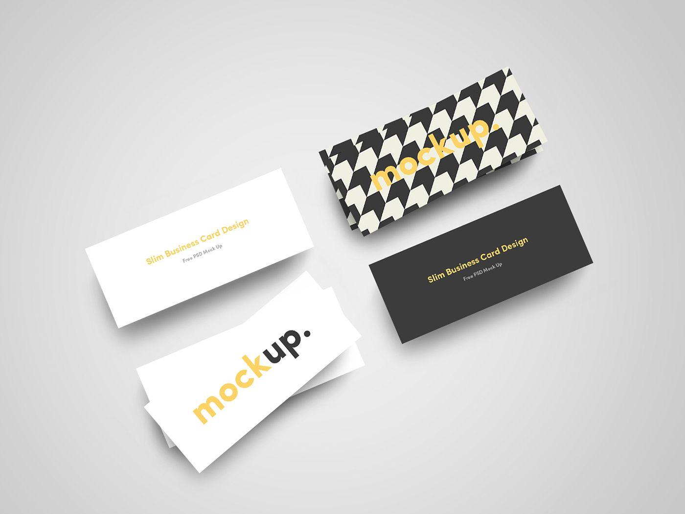 A Free Slim Business Card Psd Template Free Business Card Mockup Business Card Mock Up Business Cards Mockup Psd
