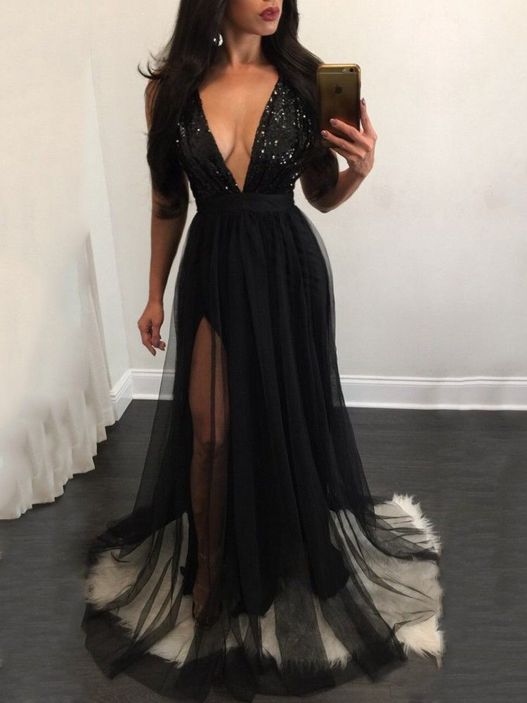 bbb9087b65 Sequins Deep V Mesh Patchwork Pleated Maxi Dress - Boutiquefeel ...