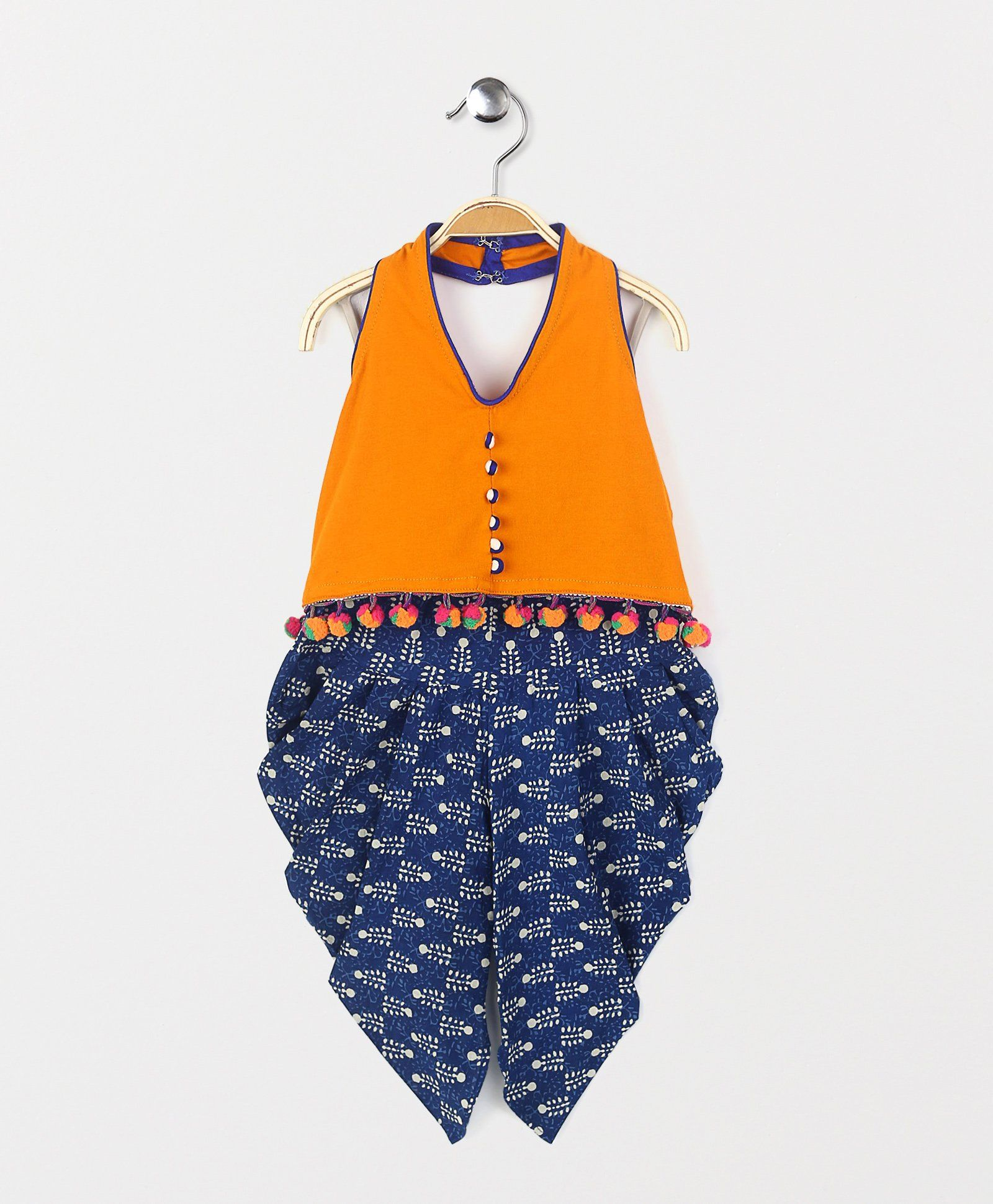 Buy Twisha Shibori Dhoti Pants With Crop Top Indigo For Girls 0 6 Months Online In India At Best Price From Kids Dresses Online Kids Dress Baby Girl Dresses