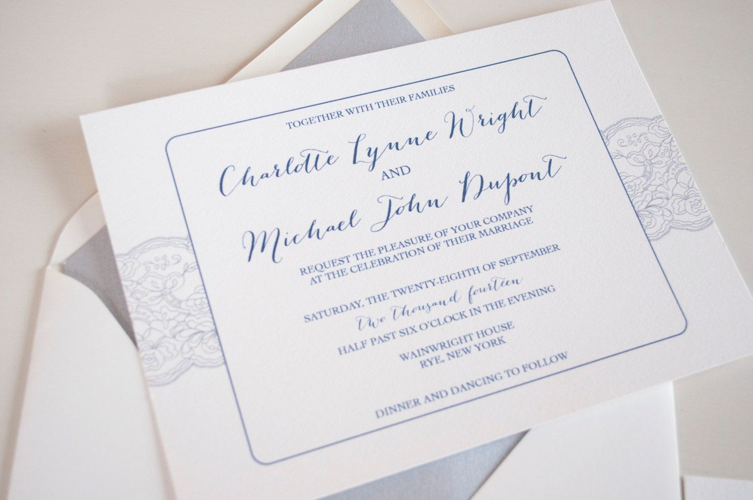 Lace Grey Navy and White Calligraphy Wedding by RebeccaGreenDesign ...