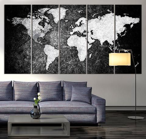 Canvas art print white world map on rustic wood 8 panel vintage black and white world map canvas print ready to hang large wall art world map gumiabroncs Images