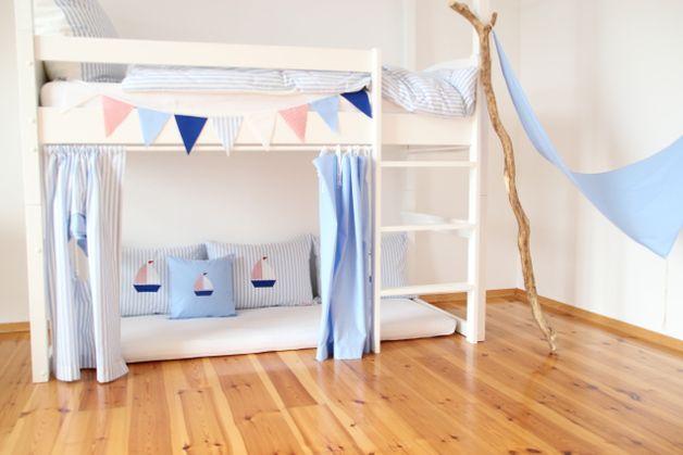 Gardinen Vorhange 4 Hochbettvorhange Blau Ein Designerstuck
