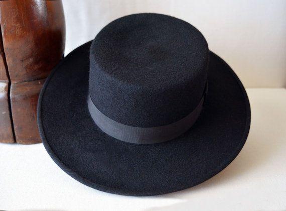 8b57d83cc8d28 Black Wool Felt Bolero Wide Brim Flat Crown by HatsNCompany