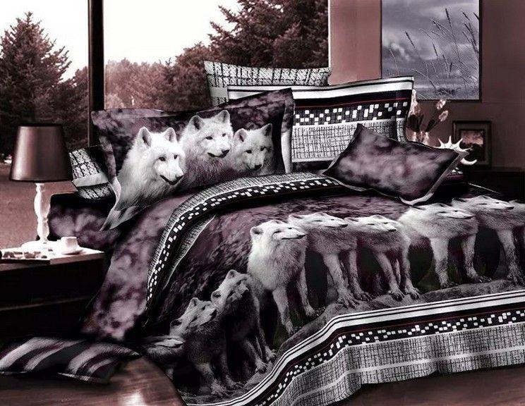wolf bedding sets full bed sheets 3d animal print bedspreads doona quilt duvet cover linen queen