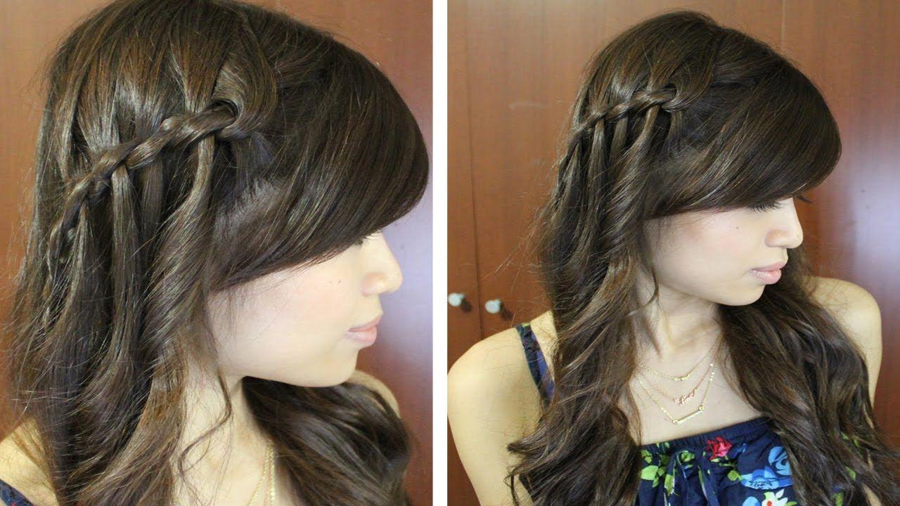 Boho Waterfall Twist Hairstyle For Medium Long Hair Tutorial Hair Tutorial Long Hair Tutorial Long Hair Styles