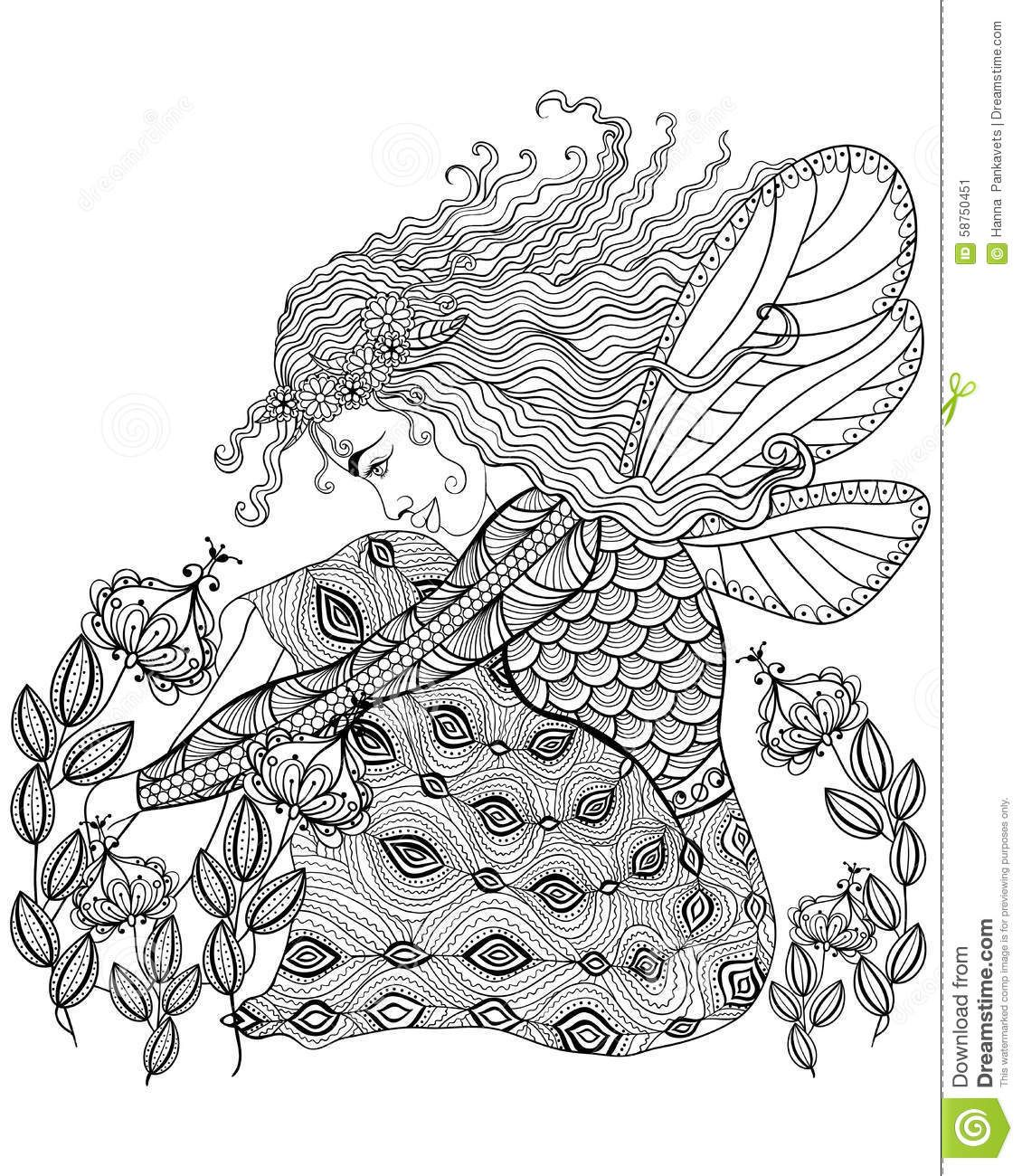 Anti stress colouring pages for adults - Forest Fairy Wings Flower Adult Anti Stress Coloring