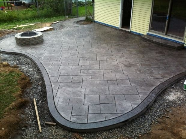 Remarkable Stamped Concrete Patio With Fire Pit Stamped