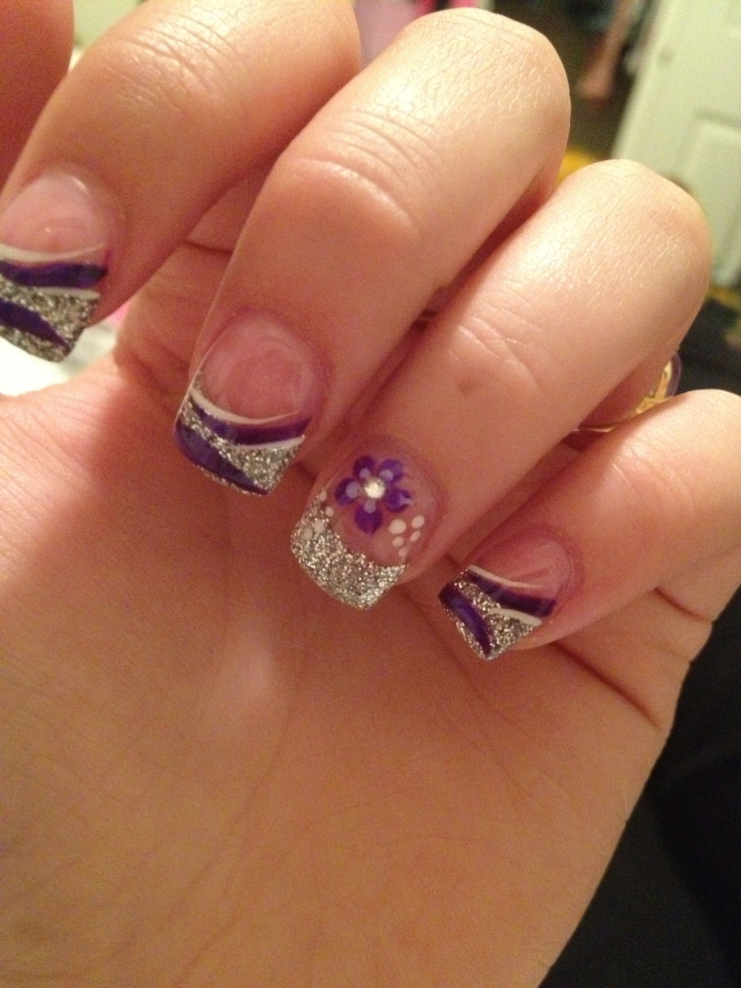 Prom acrylic nails idea my two favorite colors XD Stuff to Try