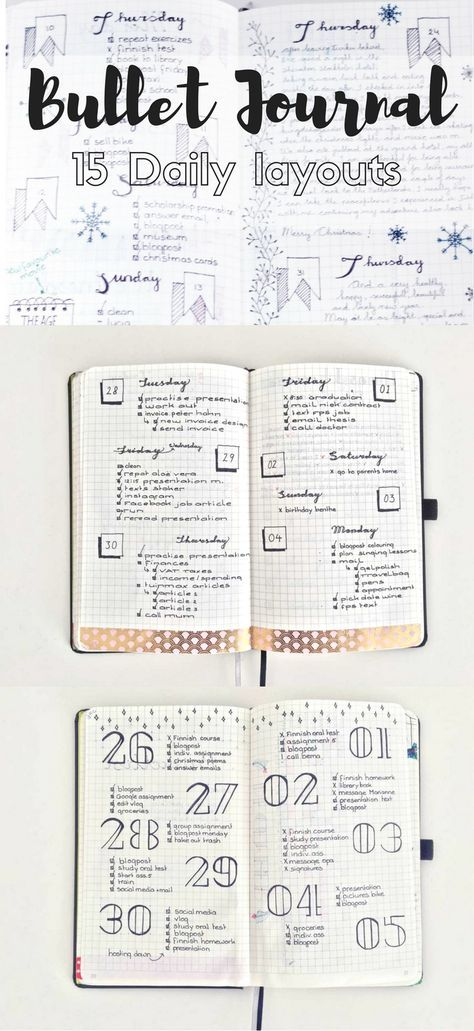 15 Diffferent Daily layouts for the Bullet Journal. | bullet ...