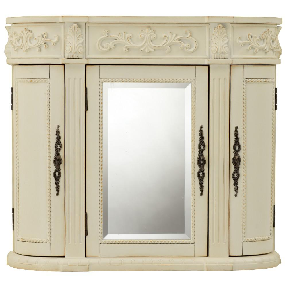 Home Decorators Collection Chelsea 31 1 2 In W Bathroom Storage Wall Cabinet With Mirror In Antique White 1589900410 The Home Depot Bathroom Wall Cabinets Wall Cabinet Large Bathroom Cabinets