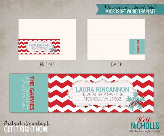 Red Chevron  Light Turquoise Wrap Around Address Label Template