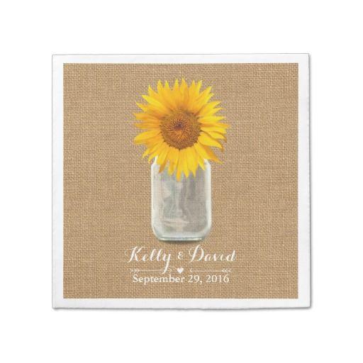 Country Sunflower & Mason Jar Burlap Wedding