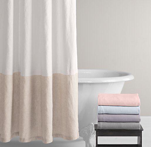 Nursery Bath Washed Organic Linen Shower Curtain Shower Curtains