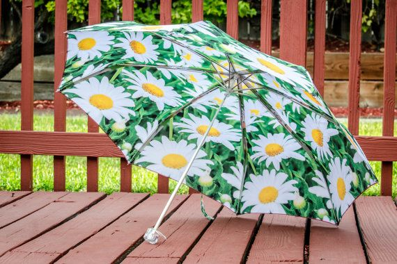 "Custom Designed Umbrella featuring my floral photography prints,41"" span,MANUAL Lightweight Umbrella,Flower Print,Daisy Photography,Rain"
