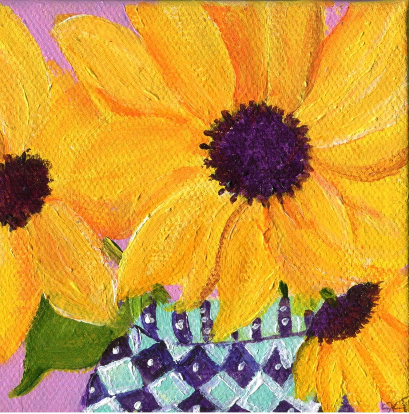 Sunflowers painting, Sunflower Art, Easel, blue and white vase ...