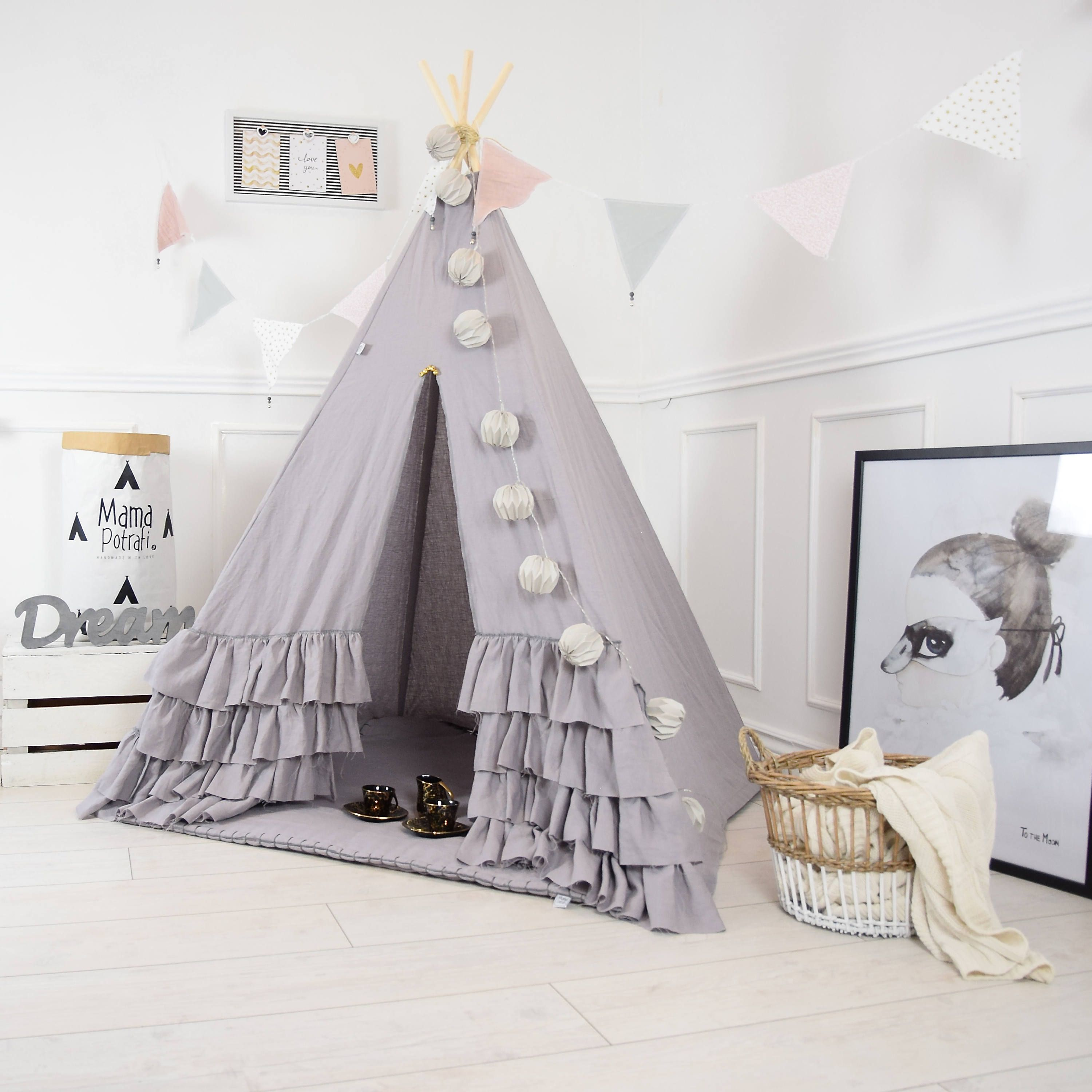 Boho Teepee Tent Linen Childrens Teepee Play Tent Linen Gray