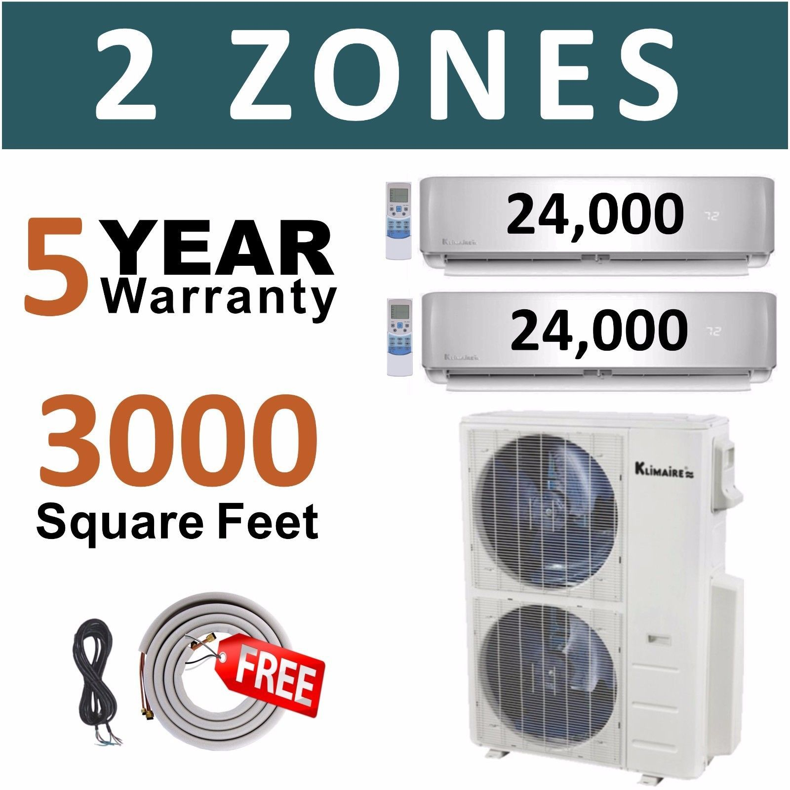 Dual Zone Ductless Mini Split Air Conditioner Multi AC