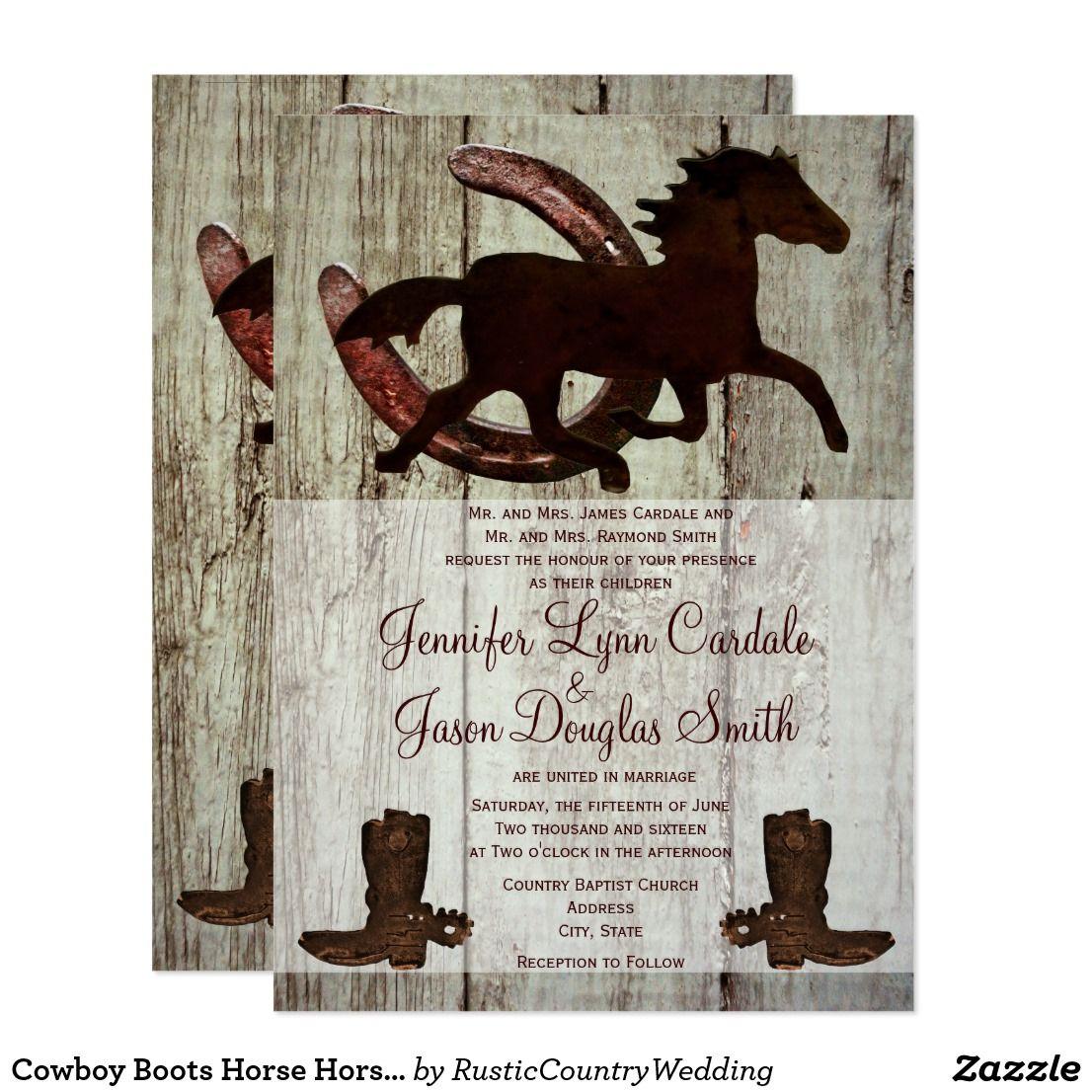 Cowboy Boots Horse Horseshoe Wedding Invitations Wedding Country
