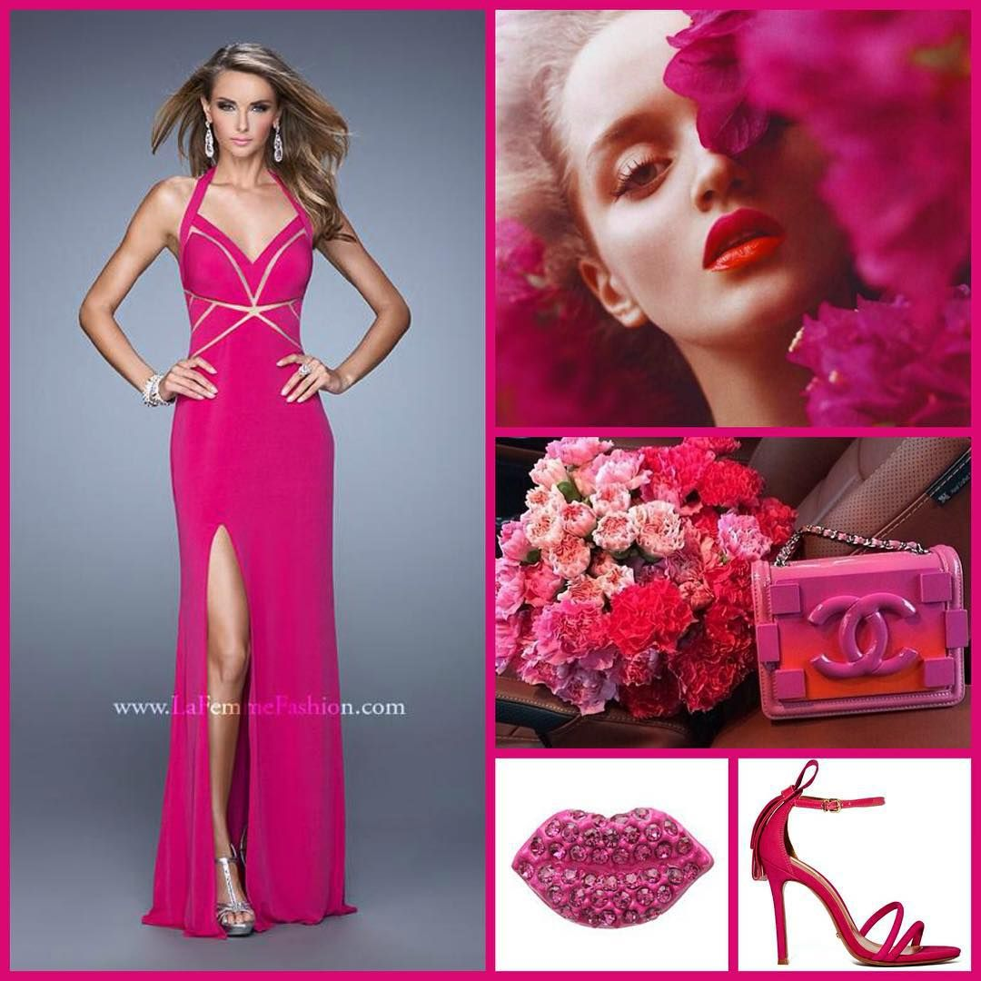 La Femme 21282 ~ long prom dress ~ pink dress ~ chanel ~ pink floral ~ fashion ~ makeup ~ bold ~ dress with cut outs ~ jersey dress ~ halter neckline ~ dress with slit ~ homecoming ~ prom 2016 ~
