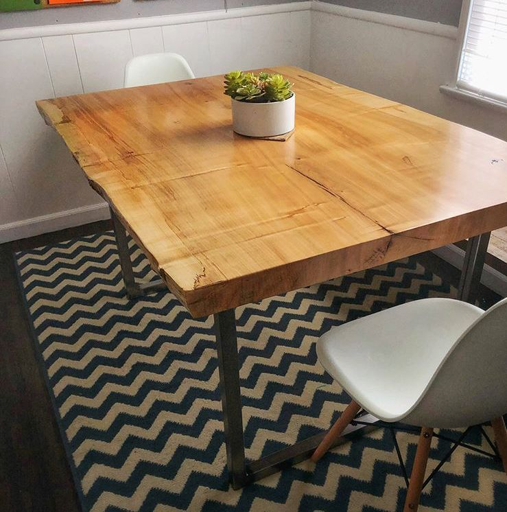 Live Edge Maple Table Maple Dining Table Modern Slab Table Live