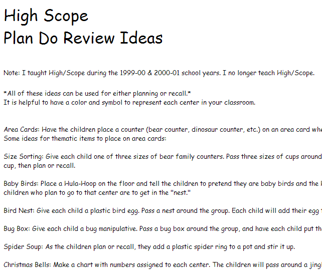 Classroom Review Ideas : High scope plan do review ideas from prekinders
