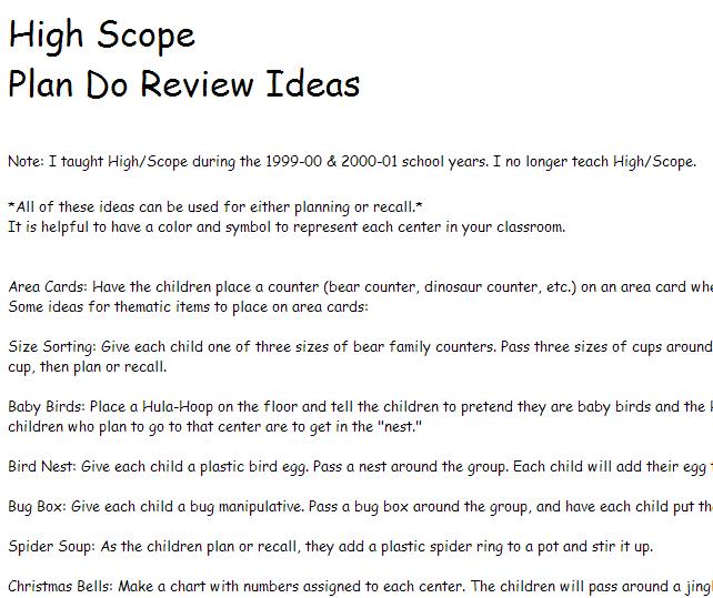 High Scope Plan Do Review Ideas from prekinders.com
