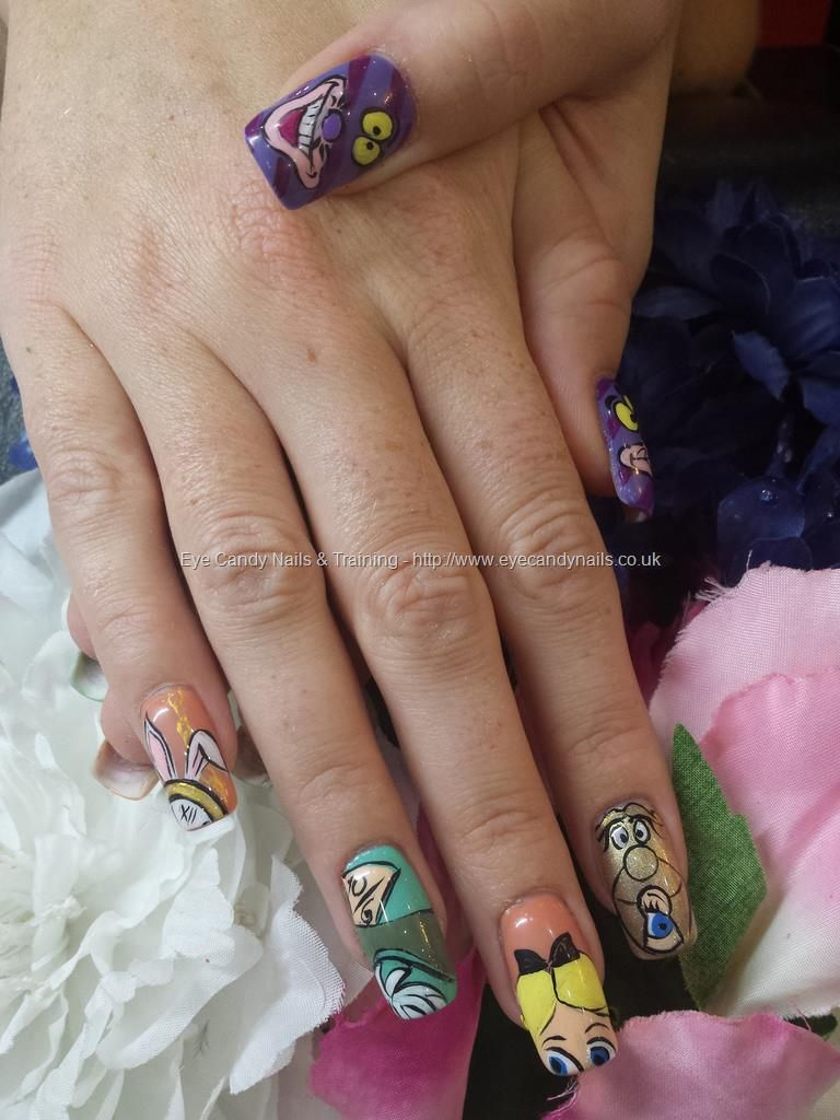 Alice in wonderland freehand nail art, white rabbit, mad hatter ...