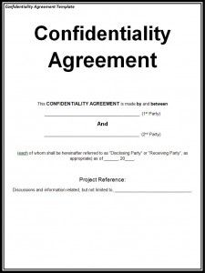 Confidentiality Agreement Template  A To Z Templates