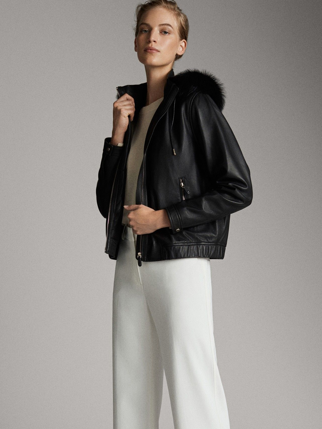 Chaqueta negra acolchada con piel. mujer | MecShopping
