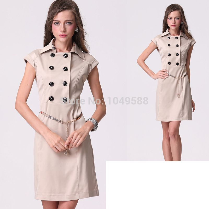 ... New 2014 Top Brand Spring Summer Scottish Plaid Decoration Dress, Women Elegant Brief Work Wear ...