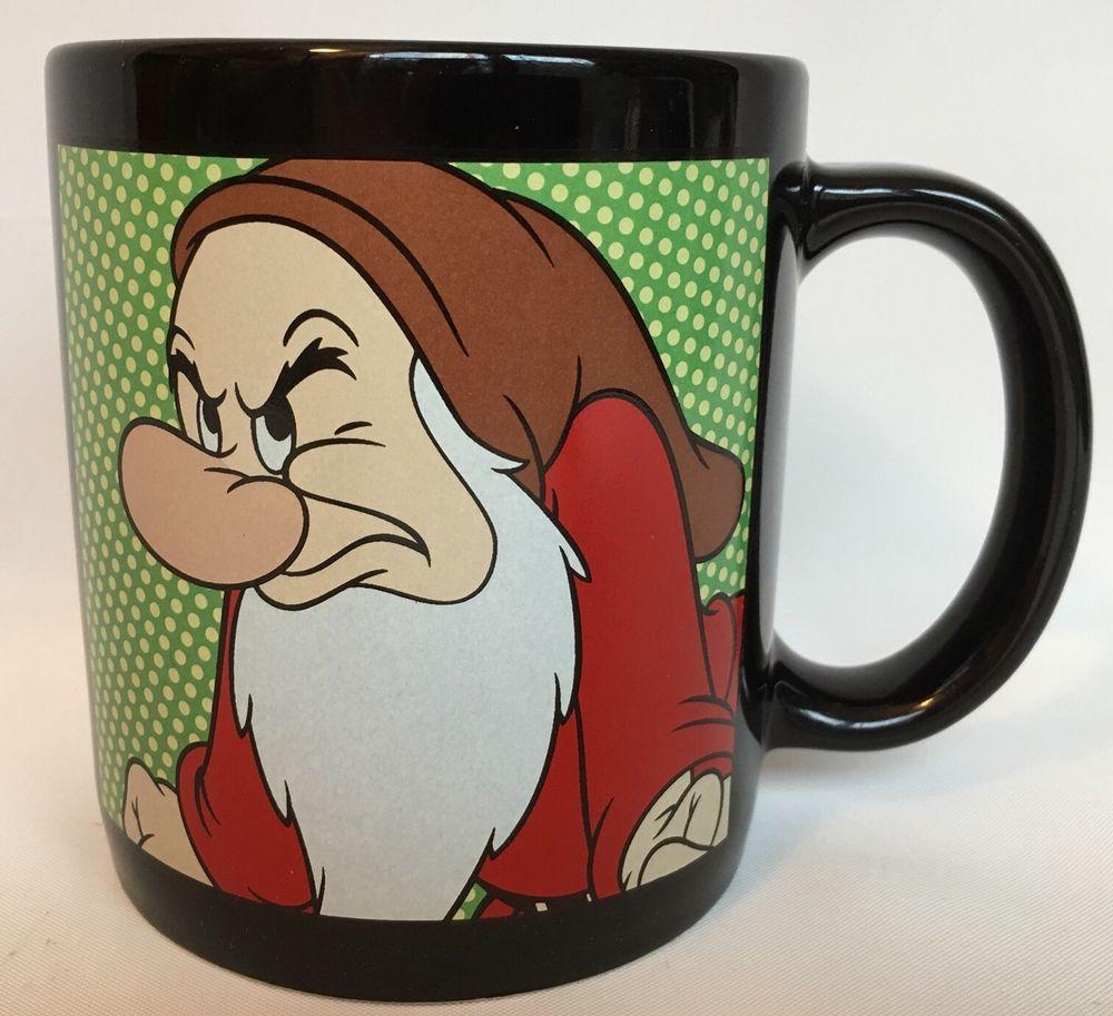Seven Dwarfs Grumpy Mug Disney Exclusive Coffee Oversized Black Ceramic