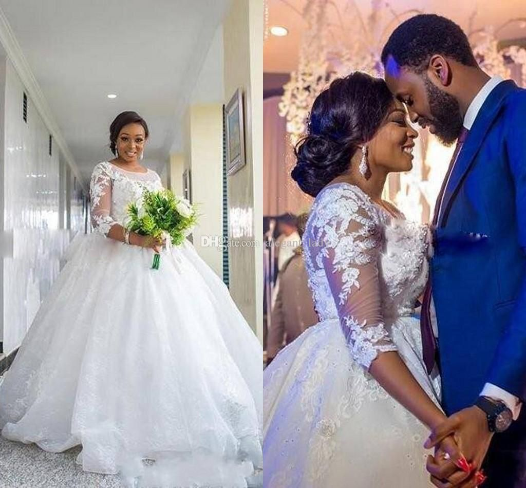Discountafrican Plus Size Wedding Dresses 3 4 Sleeves Lace Appliques South Arabic Ball Gown Long Train Bridal Gowns Wedding Gowns From Alegant Lady 134 63 D Wedding Gowns Ball Gowns Wedding Wedding Dresses [ 950 x 1024 Pixel ]