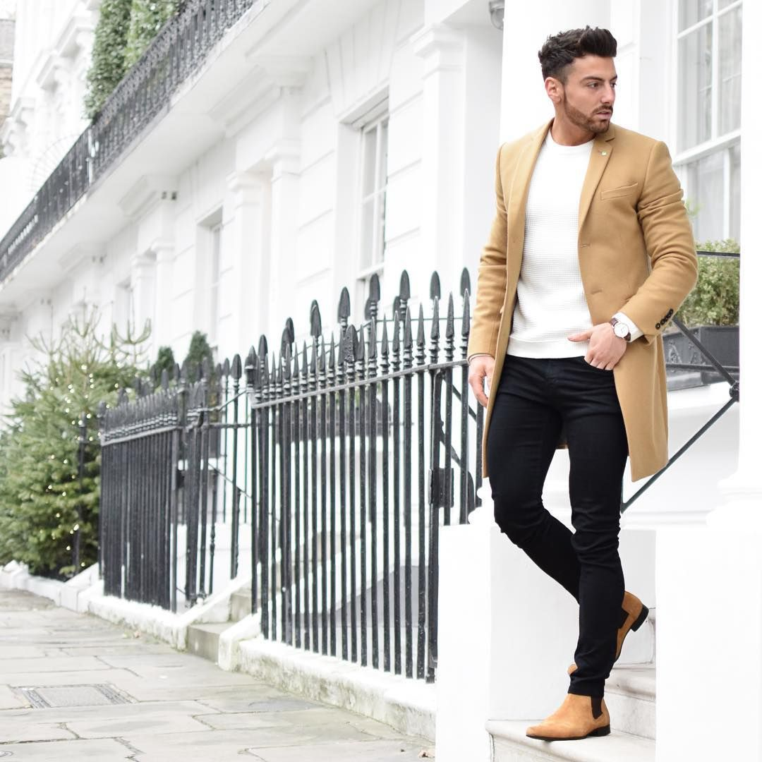 I love the juxtaposition of the skinny black jeans with the camel colored coat.