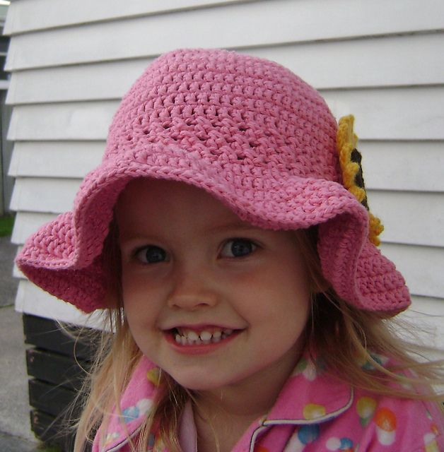 Front View Of Ruffle Brim Sunhat Free Pattern Hatting Madly