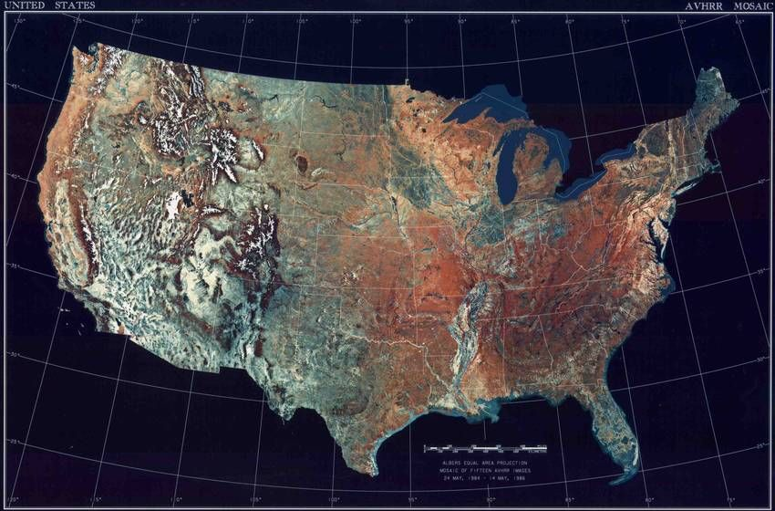 Topographical Draised Relief US Canada Combined With - Us map of states topographic