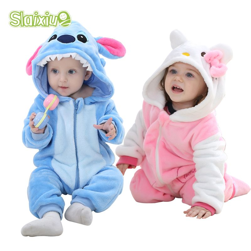 fb1b0030e756 Boys Girls Rompers Soft Flannel Animal Children Jumpsuit Kawaii Warm Boy  Girl Toddler Hooded Baby Romper