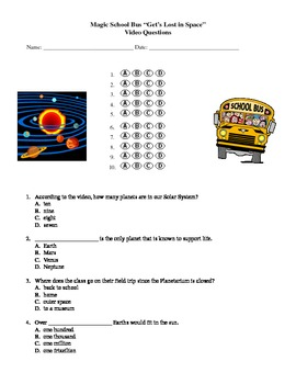 Magic School Bus Get S Lost In Space Video Questions Solar System In 2021 Magic School Bus Magic School Earth And Space Science