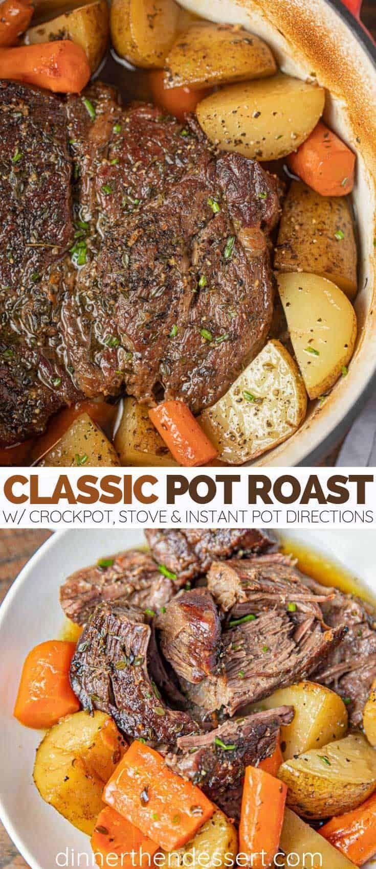 Classic Pot Roast ist ein Genussmittel von seiner besten Seite, das aus Kartoffeln und Karotten #easycomfortfood