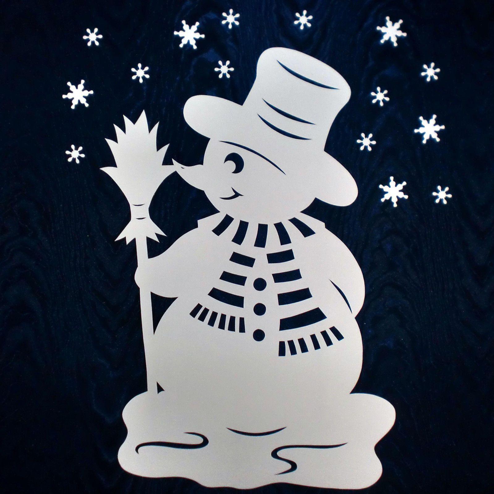 Großer Schneemann   Filigranes Fensterbild aus Tonkarton ...