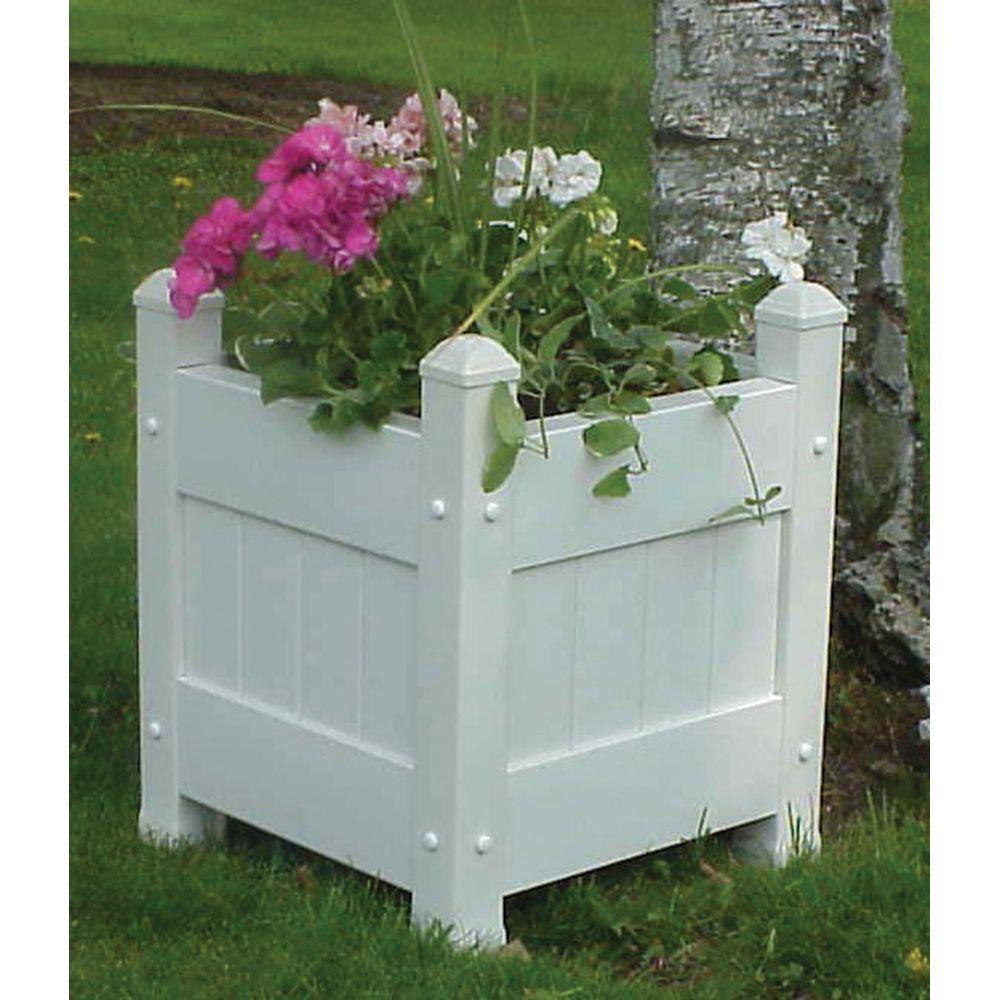 Dura Trel 16 In Square White Vinyl Planter Box 11123 The Home Depot Planter Boxes Square Planter Boxes Small Planter