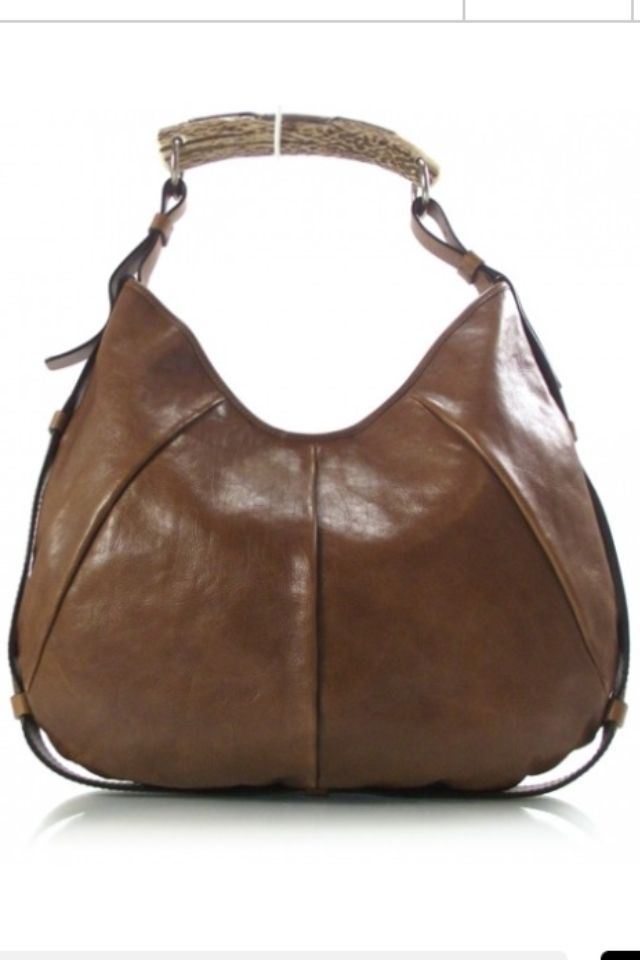 3d7ea52a33 YSL YVES SAINT LAURENT Leather Mombasa Horn Bag Brown