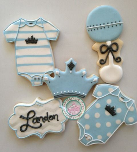 A new Prince is on his way!This perfect and sweet cookie set is the perfect addition to any dessert table or that sweet perfect gift!Cookie set includes:3. Onesies3. Crowns3. Rattles3. Name PlatesChoose up to 3 colors to suit your needs!Cookies come individually wrapped and sealed for max protection and freshness.