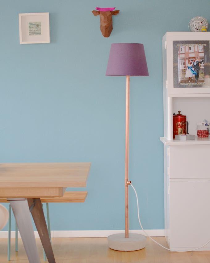 diy stehleuchte aus kupfer und beton jetzt neu im. Black Bedroom Furniture Sets. Home Design Ideas