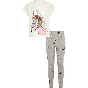4c84bbff8d Girls white unicorn print T-shirt pyjama set
