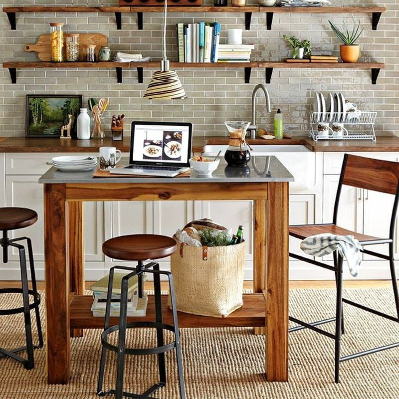 Stainless Steel Topped Island With Open Shelf Underneath And Wood Countertop With Farmhouse Rustic Kitchen Island Modern Kitchen Stools Portable Kitchen Island